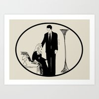 laura palmer Art Prints featuring Laura Palmer and Agent Cooper by Isn't It Too Dreamy | NC Illustration