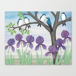 tree swallows & irises Canvas Print