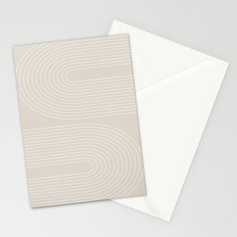 Geometric  Curves in Beige Stationery Cards