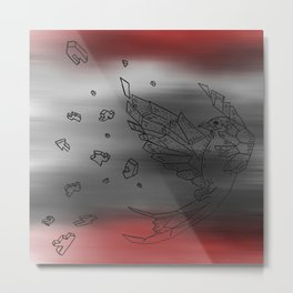 Origami Bird Explosion Red and Black Metal Print