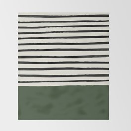 Forest Green x Stripes Throw Blanket