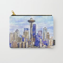Seattle View in watercolor Carry-All Pouch