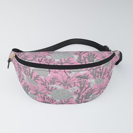 Sea Turtles Pink Grey Pattern Fanny Pack