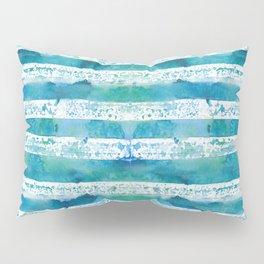blue green watercolor stripes Pillow Sham