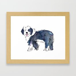 Mason - Dog Watercolour Framed Art Print
