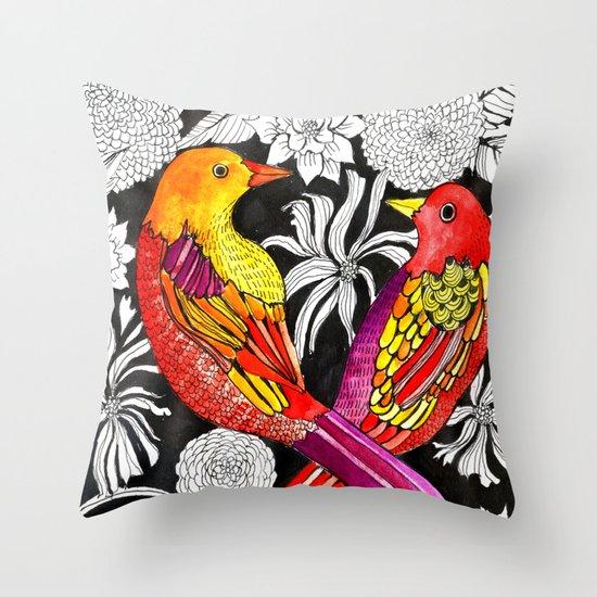 Colorful Bird Throw Pillows : colorful birds Throw Pillow by Alisa Burke Society6