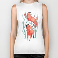 large Biker Tanks featuring Winter Fox by Freeminds