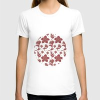 batik T-shirts featuring The Burgundy Batik Flowers by haidishabrina