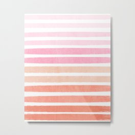 Camil - ombre gradient brushstrokes abstract painting minimalist seaside coastal beach cottage decor Metal Print