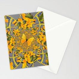 GOLDEN BUTTERFLIES & GREEN FROGS GREY MAMDALA Stationery Cards