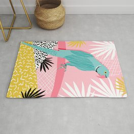 Doin' It - blue india ringneck parrot bird art wacka design animal nature retro throwback neon 1980s Rug