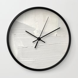 Relief [1]: an abstract, textured piece in white by Alyssa Hamilton Art Wall Clock