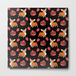 Cute happy playful funny puppy corgi dogs, sweet adorable yummy chocolate cake cartoon and red summer strawberries black design. Metal Print