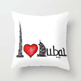 I love Dubai Throw Pillow