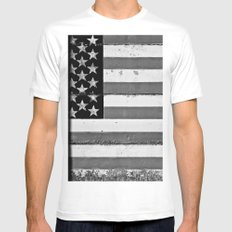 Flag MEDIUM White Mens Fitted Tee
