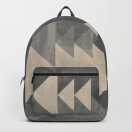 Geometric triangles abstract pattern - Gray tones & Beige Backpack