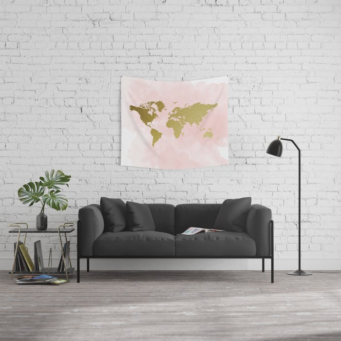 Gold World Map Poster Wall Tapestry