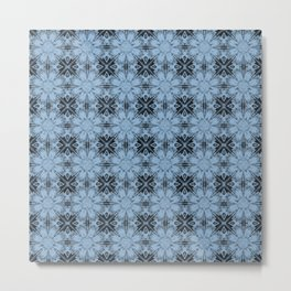 Airy Blue Floral Geometric Metal Print
