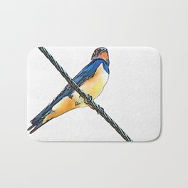 Swallow Bird On A Wire Bath Mat