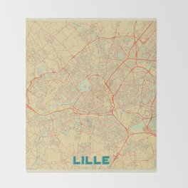 Lille Map Retro Throw Blanket