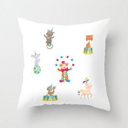 Circus Clown And Animals Throw Pillow