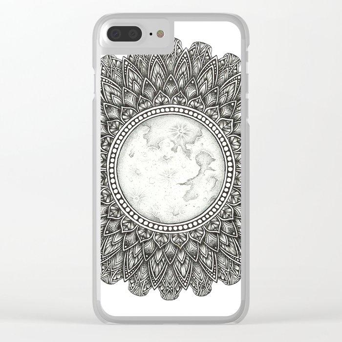 Black and White Moon Mandala Clear iPhone Case