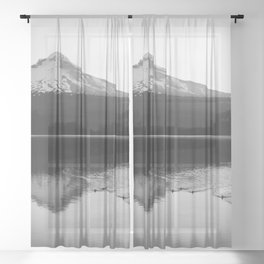 Wild Mountain Sunrise - Black and White Nature Photography Sheer Curtain