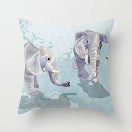 Elephants In Blue Throw Pillow