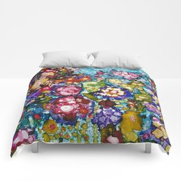 Alcohol Ink Floral Print Comforters