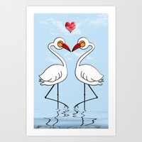 Heron Birds In Love Art Print