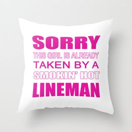 Taken By A Lineman Throw Pillow
