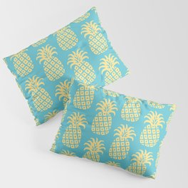 Mid Century Modern Pineapple Pattern Blue and Yellow Pillow Sham