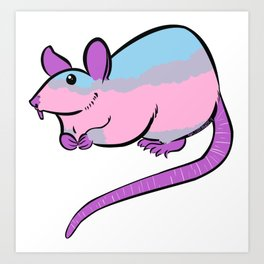 Lesbian v2 LGBTQ+ Pride Flag Fancy Rat Art Print
