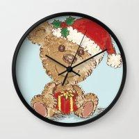 teddy bear Wall Clocks featuring Teddy bear by Toru Sanogawa