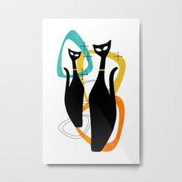 Mid Century Atomic Cats Metal Print