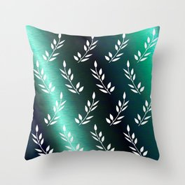 Botanical Pattern 1 in Midnight Celadon Teal Throw Pillow