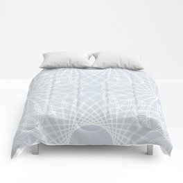 mathematical rotating roses - ice gray Comforters