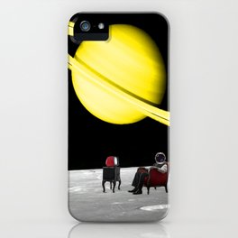 Man In Armchair Watches TV On The Moon iPhone Case