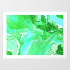 Green, Blue, and White Fluid Acrylic Abstract Painting Art Print