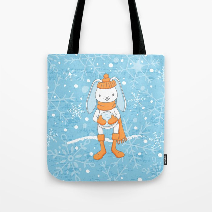 Bunny and Snowflakes_3 Tote Bag