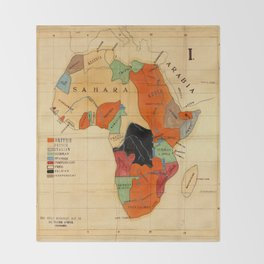 Map Of Africa 1908 Throw Blanket