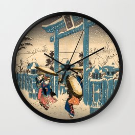 The Gion Shrine in Snow Wall Clock