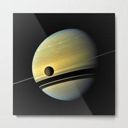 Saturn and its Moon Titan in Orbit Telescopic Photograph Metal Print