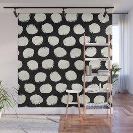 Trendy Cream Polka Dots on Black Wall Mural