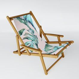 Tropical Palm Leaves Turquoise Green Coral Pink Sling Chair