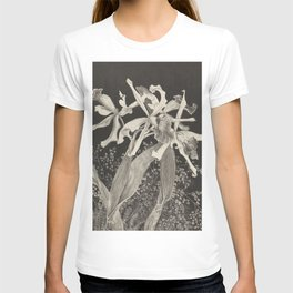 Orchid Flowers Black and White Vintage Print T-shirt