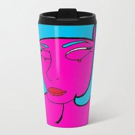 pink woman Metal Travel Mug