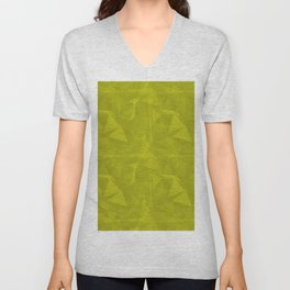Abstract Polygon Pantone Sulphur Spring Green 13-0650 Geometrical Low Poly Triangle Pattern 1 Unisex V-Neck
