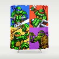 ninja turtle Shower Curtains featuring Turtle Power by VGPrints