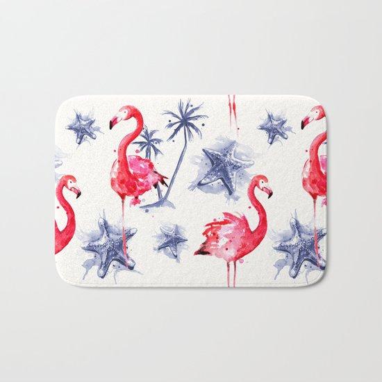 Beach Flamingos Bath Mat